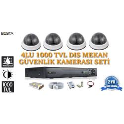 1000tvl 4 iç  Mekan Dome Güvenlik  Kamera Seti hdd Dahil  BG-1037