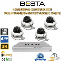4 Kameralı 4MP 2K 2.8-12MM Varfiocal IP POE Güvenlik Seti BG-1124