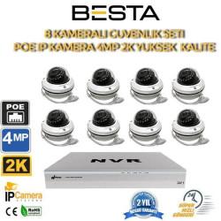 8 Kameralı 4MP 2K 2.8-12MM Varfiocal IP POE Güvenlik Seti BG-1128