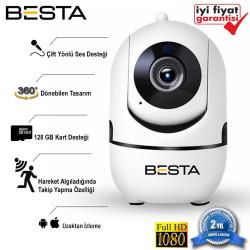 2MP Kablosuz Güvenlik Kamerası 1080P  360 derece 128GB Gece Görüşlü Wifi