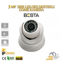 3 mp 1296p 36LED SES DESTEKLİ IP DOME GÜVENLİK KAMERASI BT-1648
