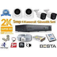 5MP 4 Kameralı  AHD Güvenlik Seti BG-1824