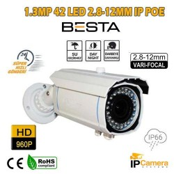 1.3 MP 960P 42 LED 2.8-12MM VARİFOCAL LENS IP POE GÜVENLİK KAMERASI BT-2013IP