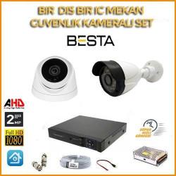 2MP 1080P 1 İç Mekan 1 Dış mekan Kameralı Ahd Güvenlik Seti BG-5203