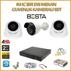 2MP 1080P 2 İç  Mekan 1 dış Mekan  Kameralı Ahd Güvenlik Seti BG-5204