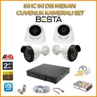 2MP 1080P 2 İç Mekan 2 dış Mekan 4 Kameralı Ahd Güvenlik Seti BG-5205
