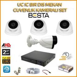 2MP 1080P 3 İç Mekan 1 dış Mekan Kameralı Ahd Güvenlik Seti BG-5206
