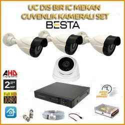 2MP 1080P 3 Dış Mekan 1 İç Mekan Kameralı Ahd Güvenlik Seti BG-5207