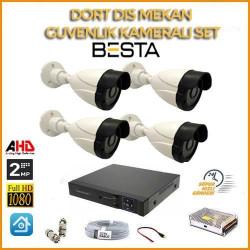 2MP 1080P 4 Kameralı  Ahd Güvenlik Seti BG-5208