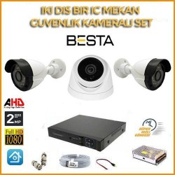 2MP 1080P 2 Dış Mekan 1 İç Mekan Kameralı Ahd Güvenlik Seti BG-5210