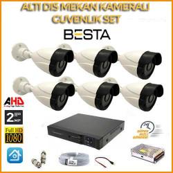 2MP 1080P 6 Dış Mekan  Kameralı Ahd Güvenlik Seti BG-5242