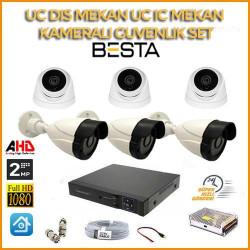 2MP 1080P 3 Dış Mekan 3 İç Mekan Kameralı Ahd Güvenlik Seti BG-5243