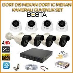 2MP 1080P 4 Dış Mekan 4 İç Mekan Kameralı Ahd Güvenlik Seti BG-5244