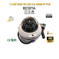 1.3 MP 960P 30 LED 2.8MM-12MM VARİFOCAL IP POE DOME BT-6013