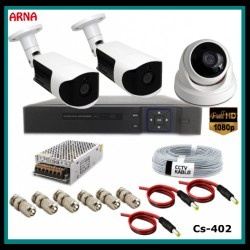 1 iç 2 dış Kameralı Ahd 1080P Güvenlik Kamerası Sistemi CS-402