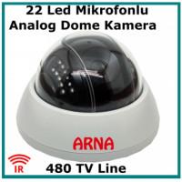Mikrofonlu Gece Görüşlü 480 TVL Analog Güvenlik Kamerası ARN-808