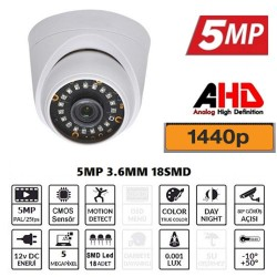 5MP AHD IR CAM 3.6MM 18 SMD LED  1440P Dome Güvenlik Kamerası