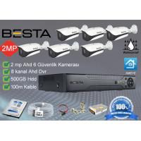 Besta BS-106  6 Dış mekan Kameralı Herşey dahil Güvenlik kamera seti