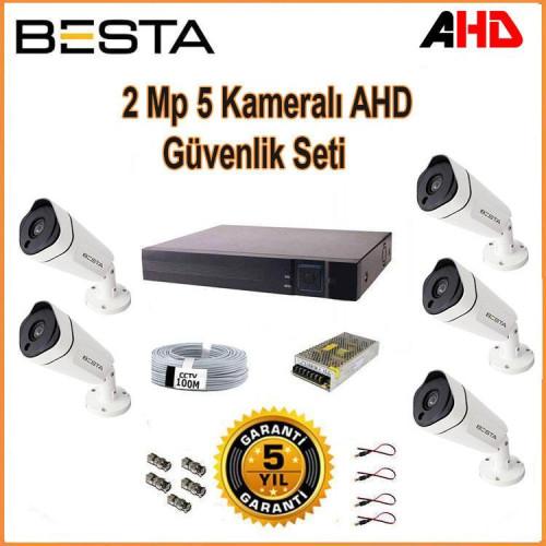 Besta KD-1815 2Mp Ahd 1080P Gece Görüşlü 5 Kameralı Güvenlik Sistemi
