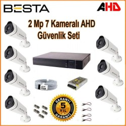 2Mp Ahd 1080P Gece Görüşlü 7 Kameralı Güvenlik Sistemi Su Geçirmez Kamera Seti