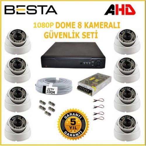 Besta KD-2320 2Mp Ahd 1080P Gece Görüşlü 8 Kameralı Dome Güvenlik Sistemi ( 1TB HDD )