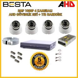 Besta KD-2815 2Mp Ahd 1080P Gece Görüşlü 4 Kameralı Dome Güvenlik Sistemi ( 1TB HDD )