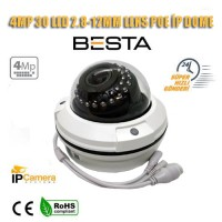 4MP 2.8MM 12mm lens 30 LED IP POE Dome Güvenlik Kamerası (BT-6040)